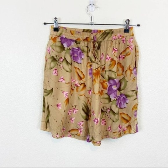 High Waisted Vintage Flowy Tropical Shorts Size S